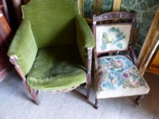 TWO ANTIQUE SIDE CHAIRS, A MAHOGANY NIGHT STAND, ETC.