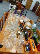 A QTY OF GLASSWARE, CLOCKS, BAROMETERS,ETC.