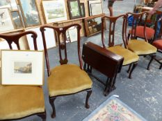 A SET OF FOUR EDWARDIAN MAHOGANY SIDE CHAIRS.