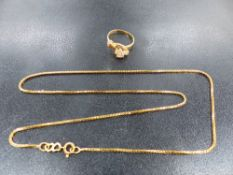 AN 18ct BOX CHAIN TOGETHER WITH A 22ct RING.