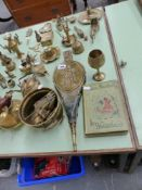 A QTY OF BRASS ORNAMENTS,ETC.
