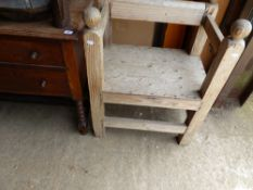 A RUSTIC PINE CHAIR TOGETHER WITH AN OAK DRESSING CHEST.