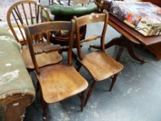 AN VICTORIAN OXFORD SIDE CHAIR BY HAZEL, ANOTHER SIMILAR AND A SPINDLE BACK CHAIR.