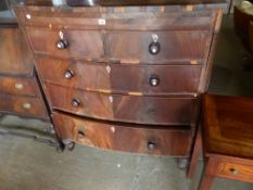 A LARGE BOW FRONT CHEST OF DRAWERS FOR RESTORATION.