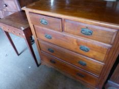 A CHEST OF DRAWERS TOGETHER WITH A SMALL INLAID SIDE TABLE.