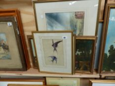 A WATERCOLOUR OF SWALLOWS AND VARIOUS PRINTS.