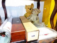 TWO VINTAGE TEDDY BEARS, EASTERN SCROLLS,ETC.