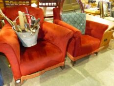 A PAIR OF EDWARDIAN ARMCHAIRS.