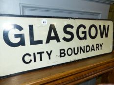 A GLASGOW CITY BOUNDARY SIGN.