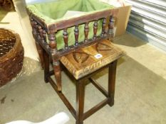 A SEWING BOX AND A STOOL.