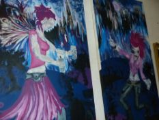 A PAIR OF LARGE FURNISHING PAINTINGS.