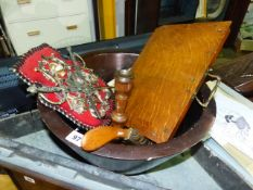 A WOODEN BOWL AND VARIOUS TREEN.