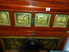 AN UNUSUAL ORIENTAL DECORATED THREE TIER SIDE CABINET.