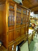A LARGE ORIENTAL PINE HALL CABINET.