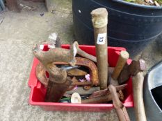 A SELECTION OF TOOLS, GARDEN IMPLEMENTS,ETC.