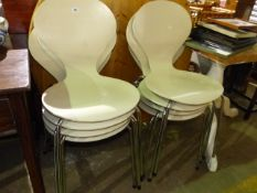 A SET OF RETRO BENTWOOD CHAIRS MADE IN DENMARK.