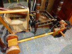 A HOBBY HORSE, A DOLLS PRAM AND A COPPER WARMING PAN.