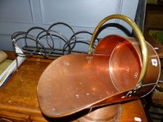 A COPPER COAL SCUTTLE,ETC.