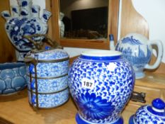 VARIOUS ORIENTAL BLUE AND WHITE WARES.