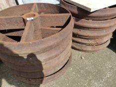 TEN ANTIQUE IRON WHEELS