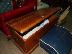 A LATE VICTORIAN PINE BLANKET BOX.