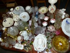 A LARGE QTY OF CHINA ,GLASS AND METALWARES.