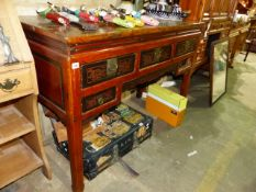 AN ORIENTAL HARDWOOD ALTAR TABLE WITH FIVE DRAWERS.