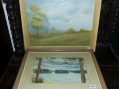 AN OIL PAINTING AND A WATERCOLOUR.