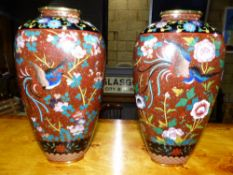 A PAIR OF GOOD QUALITY CLOISONNE VASES