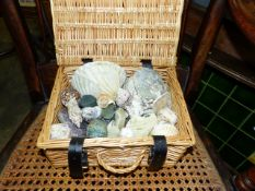 A SMALL BASKET OF VARIOUS SEA SHELLS,ETC.