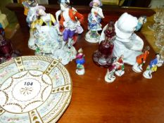 A QTY OF FIGURINES AND TWO VICTORIAN CABINET PLATES.