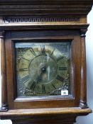 "AN 18th.C.OAK CASED 30 HOUR LONG CASE CLOCK WITH 10"" BRASS DIAL AND CHAPTER RING SIGNED RICH."