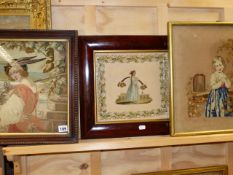 A VICTORIAN NEEDLEPOINT PORTRAIT OF A HUNSTMAN TOGETHER WITH TWO OTHERS OF DIFFERENT SUBJECTS.