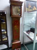 AN 18th.C.EIGHT DAY LONG CASE CLOCK MOVEMENT AND ENGRAVED BRASS DIAL SIGNED THO.SPARKE,WAPPING IN AN