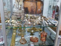 A QUANTITY OF VARIOUS SILVERPLATE CUTLERY, COPPER AND BRASSWARES,ETC.