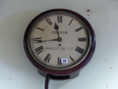 AN EARLY 19th.C.MAHOGANY CASED ROUND DIAL WALL CLOCK WITH SINGLE FUSEE MOVEMENT, THE DIAL SIGNED