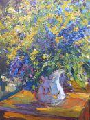 ALEXANDER KOLOTILOV. (RUSSIAN 1946-) STILL LIFE OF SUMMER FLOWERS, SIGNED, OIL ON CANVAS. 70 x