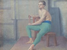 MANNER OF H.TUKE. THE ATHLETE, A STUDY, INSCRIBED ON REVERSE, OIL ON CANVAS. 51 x 68cms.