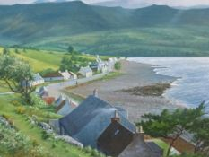 H.J.SQUIRES (20th.C.) SHIELDAIG, WESTER ROSS, SIGNED OIL ON BOARD. 46 x 61cms.