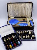 A CASED SET OF TWELVE SILVER AND FLORAL MOTIF ENAMELLED SPOONS 1972 BIRMINGHAM, S J ROSE & SON, A