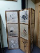 NINE 19th/20th.C.JAPANESE WATERCOLOURS MOUNTED AS A THREE FOLD SCREEN, EIGHT ORNITHOLOGICAL SUBJECTS