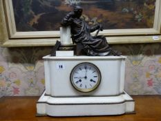 A MID VICTORIAN WHITE MARBLE AND BRONZE MANTLE CLOCK SURMOUNTED WITH STUDIOUS FIGURE SEATED