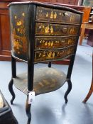 AN ORIENTAL EXPORT CHINOISERIE LACQUER FOUR DRAWER STAND IN THE FRENCH TASTE WITH SHAPED TOP AND