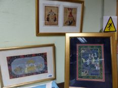 FOUR INDO PERSIAN MINIATURE PAINTINGS AND MANUSCRIPT PAGES AND A PAIR OF ORIENTAL PORTRAITS FRAMED