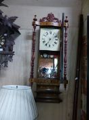 A VICTORIAN DROP DIAL WALL CLOCK WITH ANSONIA TYPE MOVEMENT IN TUNBRIDGE INLAID CASE. H.100cms.