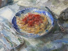 20th.C.SCHOOL. PASTA, SIGNED INDISTINCTLY AND DATED OIL ON CANVAS. 60 x 66cms.