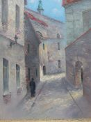 20th.C.RUSSIAN SCHOOL. A VILLAGE STREET INITIALLED N.L. AND INSCRIBED ON REVERSE, OIL ON CANVAS.