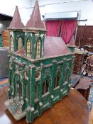 AN ANTIQUE SCRATCH BUILT MODEL OF A CHURCH WITH FITTED ALTAR RETAINING ORIGINAL PAINT DECORATION.