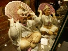 A PAIR OF VICTORIAN CONTINENTAL BISQUE ORIENTALIST STYLE NODDING HEAD SEATED FIGURES. H.17cms.