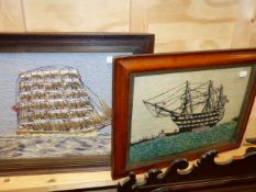 TWO VINTAGE WOOLWORK PANELS OF SAILING SHIPS. LARGEST 31 x 36cms.